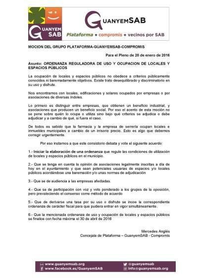 5 - MOCION ORDENANZA REGULADORA DE USO Y OCUPACION DE LOCALES Y ESPACIOS P+ÜBLICOS