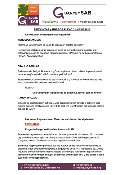 PREGUNTAS Y RUEGOS PLENO 31 mayo 2016 recopilatorio