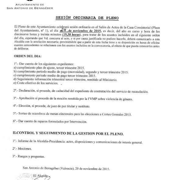 orden dia pleno ordinario 24 noviembre 2015